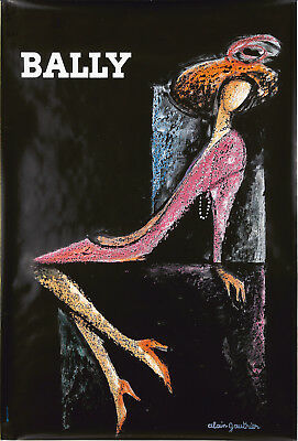 Original Vintage Poster Alain Gauthier Bally Shoes Women French ca. 1970 Fashion
