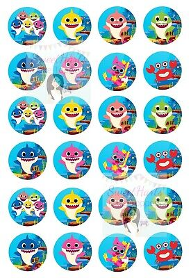 BABY SHARK CUPCAKE TOPPERS EDIBLE FAIRY CAKE DECORATIONS PINKFONG X24 (D1) ()