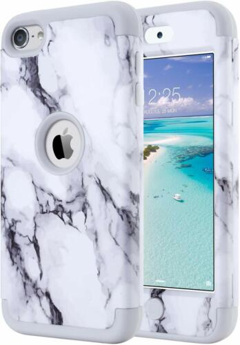 For iPod Touch 5th 6th 7th Gen - Hard Hybrid Armor Impact Case Gray White Marble