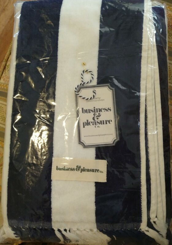 New Business & Pleasure Holiday Beach Towel Navy and White Stripe