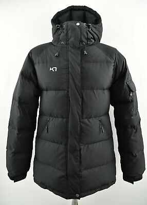 KARI TRAA Womens Down Jacket Hooded Black Insulated Windproof Padded Size M