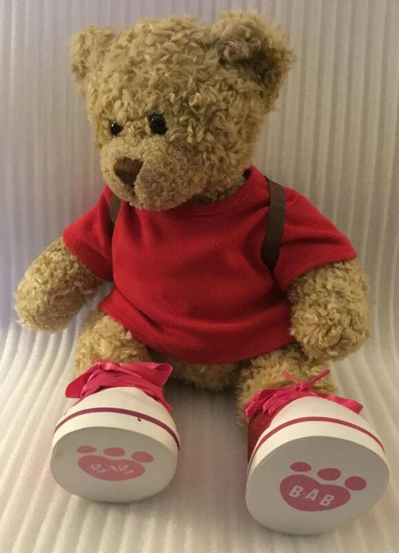 """Build A Bear Beige Curly Hair Bear (HANNA) 17"""" Plush Stuffed Animal"""