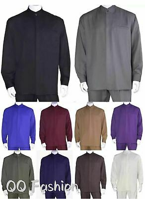 Men's 2-piece Mandarin Banded Collar Casual Shirt Set Walking Suit M2826.  2 Piece Mens Suit