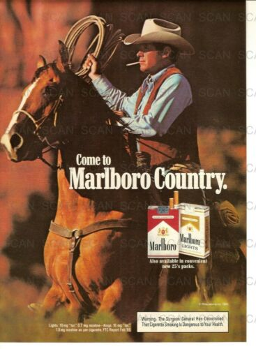 1985 Marlboro Cigarettes Vintage Magazine Ad   Marlboro Man  Roping on a Horse