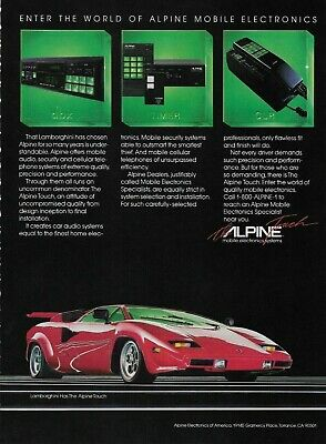 1986 Alpine Red Lamborghini Mobile Electronics Systems Original Color Print Ad ()