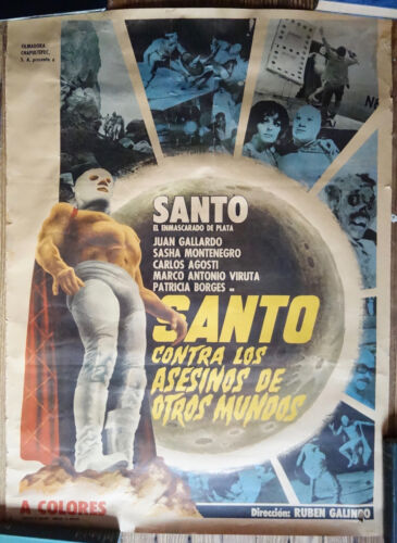 RARE Original Mexican 1971 Santo Contra Los Asesinos de Otros Mundos Lucha LIbre