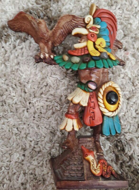 MEXICAN AZTEC Onyx EAGLE WARRIOR HANDMADE FIGURE BIRD MEXICO Real Arrow Head