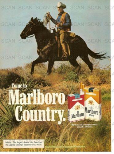 1981 Marlboro Cigarettes Vintage Magazine Ad    Marlboro Man on a  Black Horse