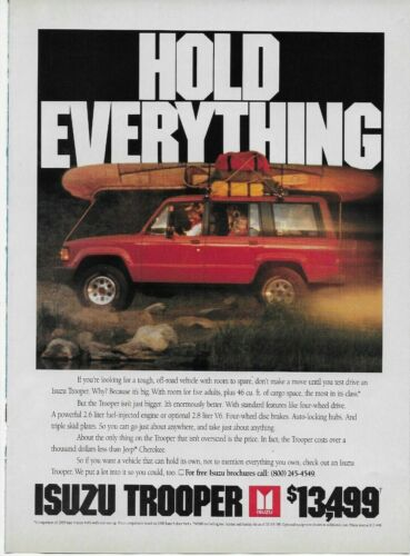 1990 Isuzu Trooper Red Family Camping Auto Car Original Print Poster Color Ad
