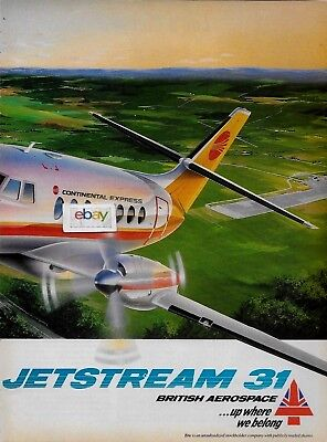 CONTINENTAL AIRLINES EXPRESS JETSTREAM J-31 2 PG LITHOGRAPH AD