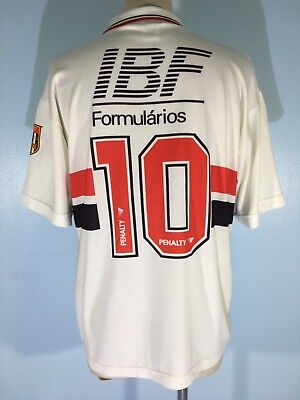 SAO PAULO BRAZIL 1992 VINTAGE PENALTY PLAYER SOCCER FOOTBALL KIT SHIRT JERSEY L image