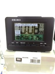 Seiko Desk Digital Alarm Clock backlight LCD Black QHL078K calendar thermometer