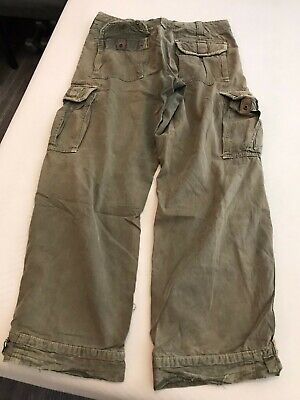 VTG Abercrombie Fitch Cargo Loose Pants Paratroops Army Green Rare metal button
