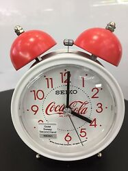 Seiko Bell Alarm Clock white Quiet Sweep Snooze Light QHK905W Coca Cola limited