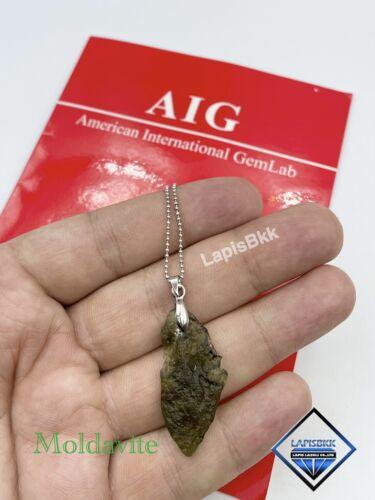 Natural Raw Moldavite tektite pendant with silver wire czech moldavite pendant