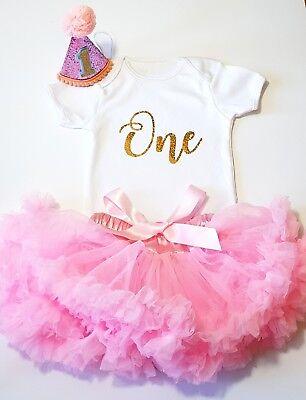 1st Birthday Outfit Baby Girls Frilly Tutu  Dress Skirt Cake Smash + Party HAT  - 1st Birthday Hat Girl