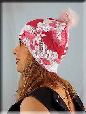 - New Pink Army Print Beanie Pink Fox Fur Pom Pom One Size Fits All