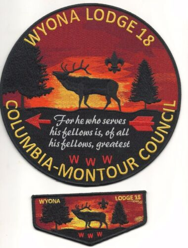 boy scout wyona lodge 18 new backpatch & flap