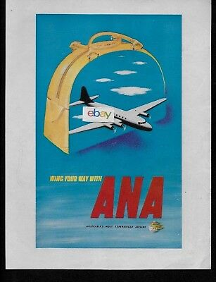 ANA AUSTRALIAN NATIONAL AIRWAYS 1949 WING YOUR WAY WITH ANA DC-4 AD