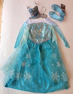 NWT Disney Store Frozen Sz M 7-8 Elsa Costume Dress Tiara & Light Up Shoes (Elsa Costume Shoes)