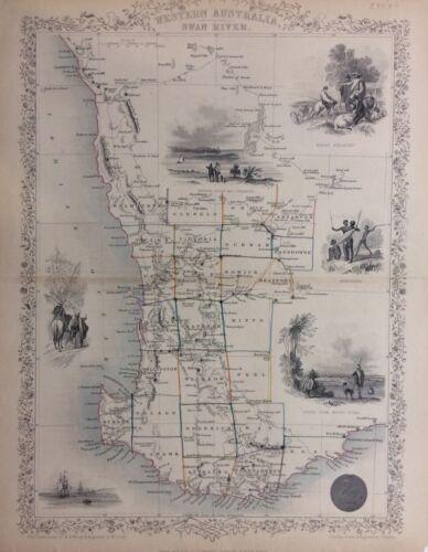 Western Australia Swan River Original John Tallis 1851 Map