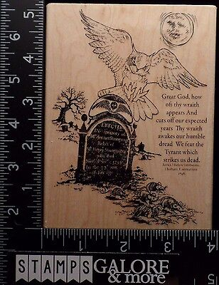 Halloween Tombstone Sayings (STAMPENDOUS RUBBER STAMPS R230 OWL TOMBSTONE HALLOWEEN GRAVEYARD SAYING)