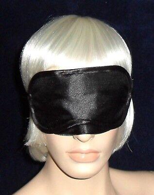 Satin Glanz Augenmaske, Schlafmaske, Schlafbrille, Augen Maske, Schwarz, NEU