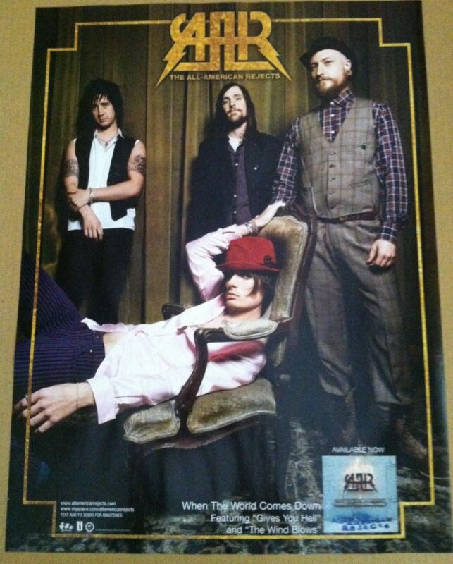 ALL AMERICAN REJECTS 2008 PROMO POSTER of When the World CD MINT Never Displayed
