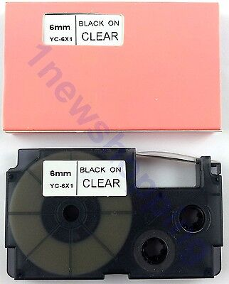 New Great Quality Compatible For Casio Tape 6mm Black On Clear Label Xr-6x1
