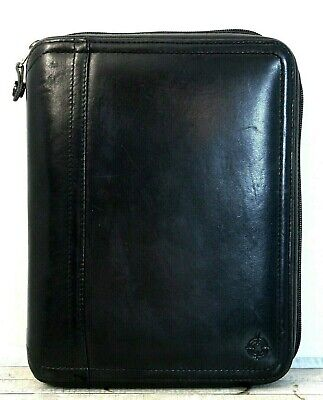 7.75x9.75 Franklin Covey Black Real Leather 7-ring 1 Binder Planner Organizer