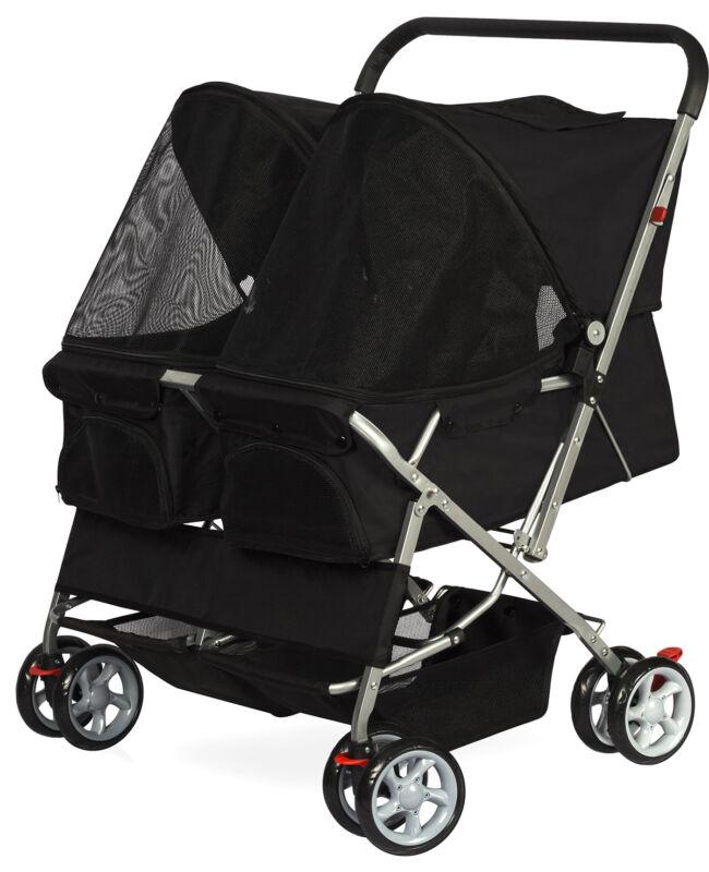 Pet Stroller Cat Dog 4-Wheel DOUBLE TWIN Walk Travel Folding Carrier