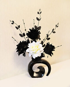 Artificial Silk Flower Arrangement In Black & White in Small Modern Shaped Vase