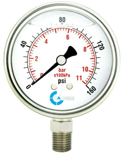 "2-1/2"" Pressure Gauge, ALL STAINLESS STEEL, Liquid Filled, Lower Mnt, 160 Psi"
