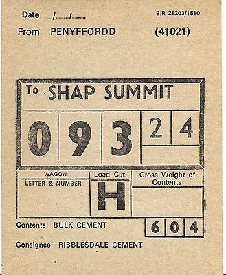 Railway Wagon Label, Penyffordd to Shap Summit- Ribblesdale Cement