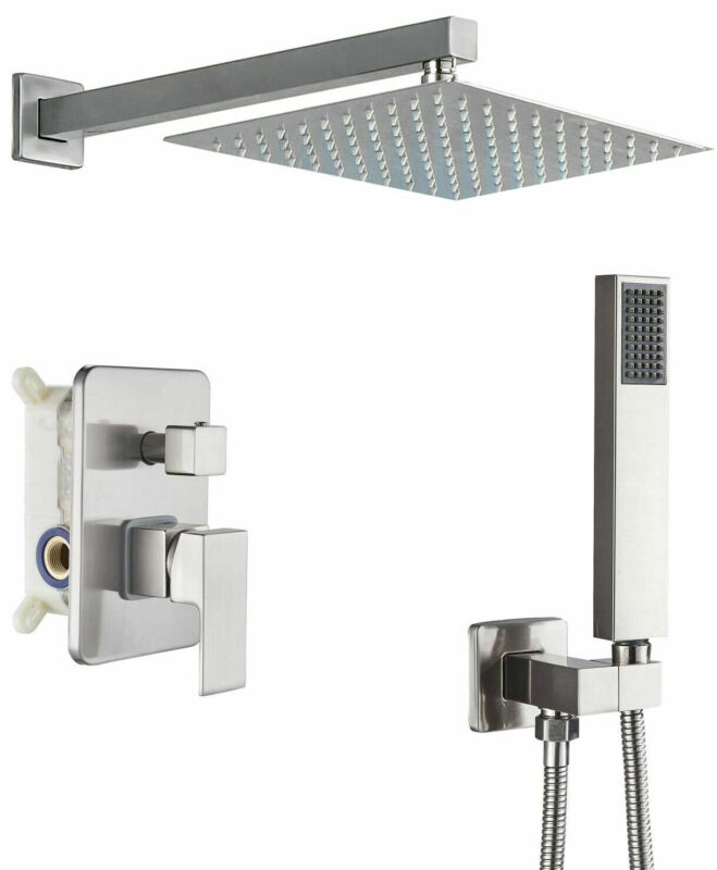 Brushed Nickel Shower Faucet System Set 8 inch Rainfall With 2-Functions Valve