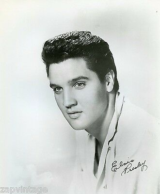 Vintage RARE B&W Portrait of ELVIS PRESLEY Autographed Signature Head Shot Photo