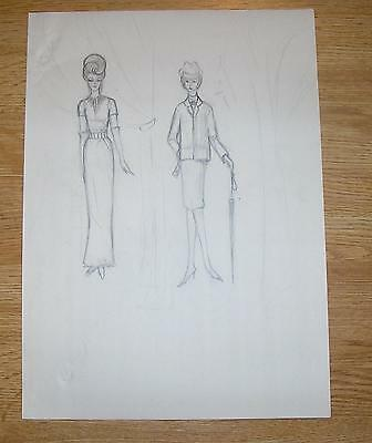 VINTAGE 1960'S FASHION MODEL WOMEN EVENING GOWN SUIT UMBRELLA HAT PENCIL DRAWING