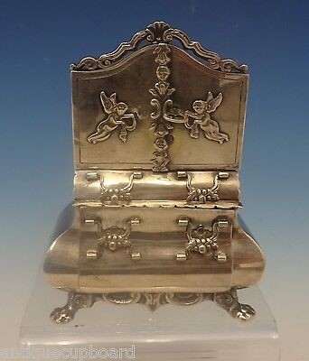 Dutch .883 Silver Miniature Dollhouse Dresser with Applied Cupids (#0355)