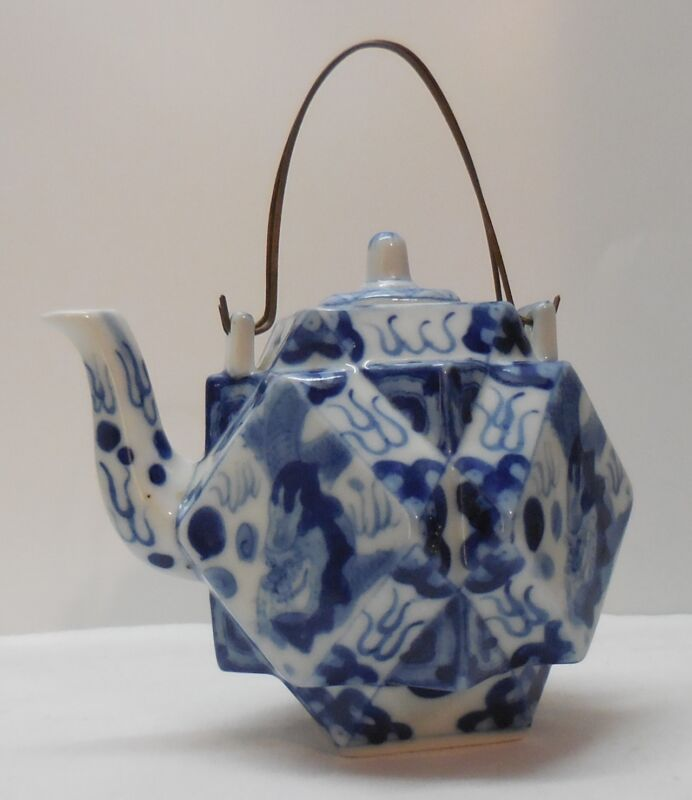 Teapot with Dragons Fire Blue and White Porcelain Multiple Shaped Marked Vintage