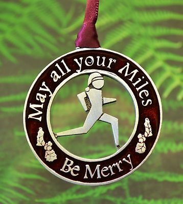 Runner Christmas Ornament May all your Miles Be Merry Runner Decorations Pewter Merry Christmas Decorations