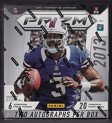 2013 Panini Prizm Football sealed hobby box 20 packs of 6 cards 2 auto