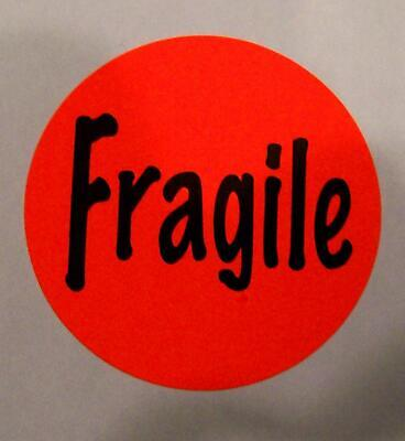 500 Red Fragile Label Stickers Big 1 12 Round.