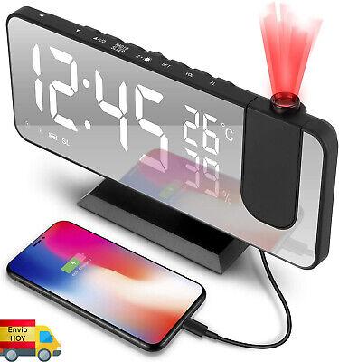 RADIO RELOJ DESPERTADOR ALARMA FM PROYECTOR LED CARGA USB TERMOMETRO MOVIL