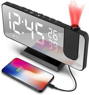 Radio Réveil Projecteur FM Thermomètre LED Numérique Horloge Alarme Plafond USB