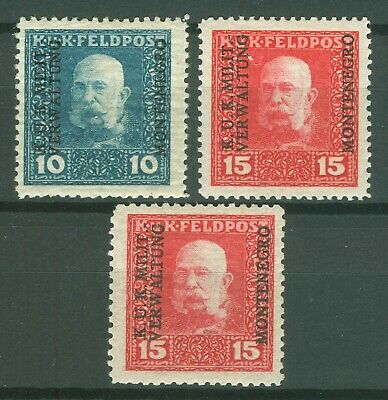 MONTENEGRO AUSTRIAN OCC. 1917 WWI - FELDPOST MI. 1/2 + MI. 2b perforation 11.5