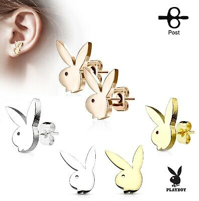 Playboy Bunny 316L Stainless Steel Post Stud Earrings Gold - Rose Gold - Silver Rose Earring Posts