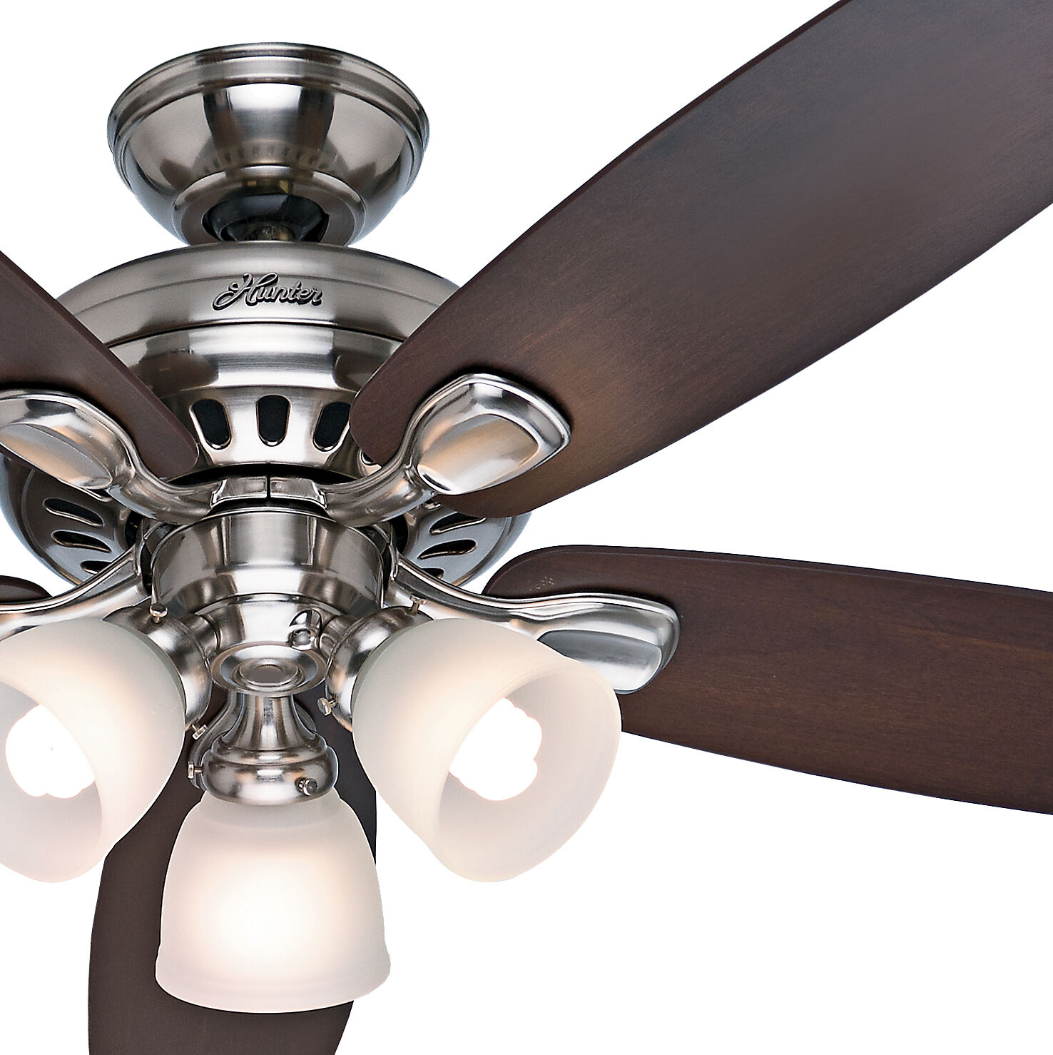 "Ceiling Light Fan: Hunter 52"" Brushed Nickel Ceiling Fan With Light & Remote"