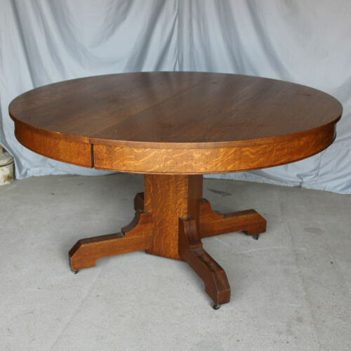 Antique Arts & Crafts Mission 54″ Round Oak Dining Table with 5 Original Leaves