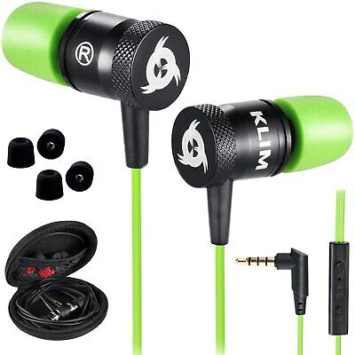 KLIM Fusion In-Ear Earbuds Earphones Headset w/Microphone Memory Foam, Green NEW