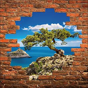 sticker mural trompe l 39 oeil mur de pierre arbre et mer r f 851 ebay. Black Bedroom Furniture Sets. Home Design Ideas